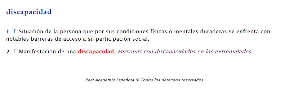 """La RAE enmienda el término """"discapacidad"""" en el diccionario"""